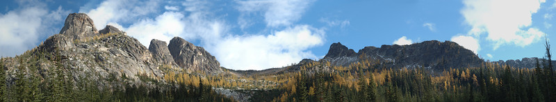 Liberty Bell and Larch Trees Blue Lake trail, North Casades Highway 12x65 Panorama