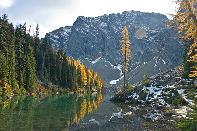 Blue Lake with larch trees in late fall