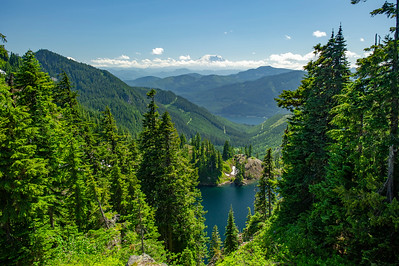 Last view of Lake Lillian, Lake keechelus and Mt Rainier