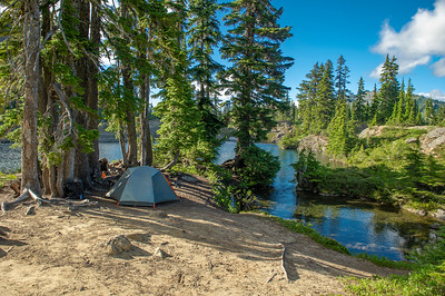 Tent site on a short peninsula