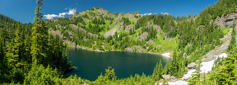 "Lake Lillian, top of the ""big rock"".  Trail to Rampart Ridge is on the right."