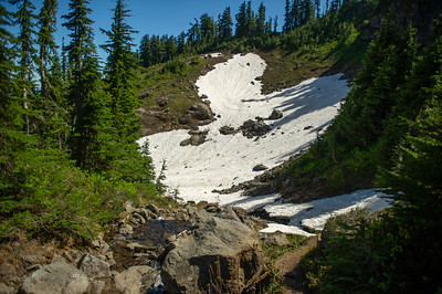 Looks can be deceiving,.This snow field had a large stream and  another small stream running under it.
