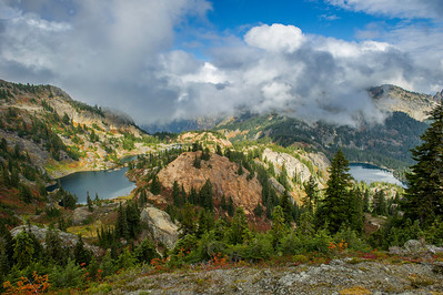 """Right fork trail view of Rampart lakes and Rachel Lake from below where it """"cliffs out"""""""