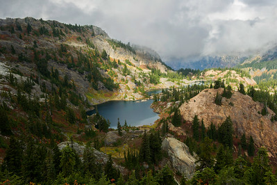 Rampart Lakes, with the ridge to the left.