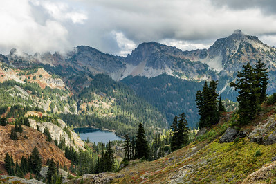 Rachel Lake, view still below the ridge and on the trail  to Rampart Lakes