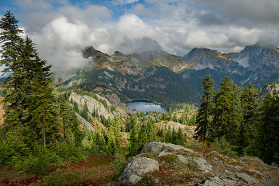 """Right fork view of Rachel Lake, below where the trail """"cliffs out"""""""