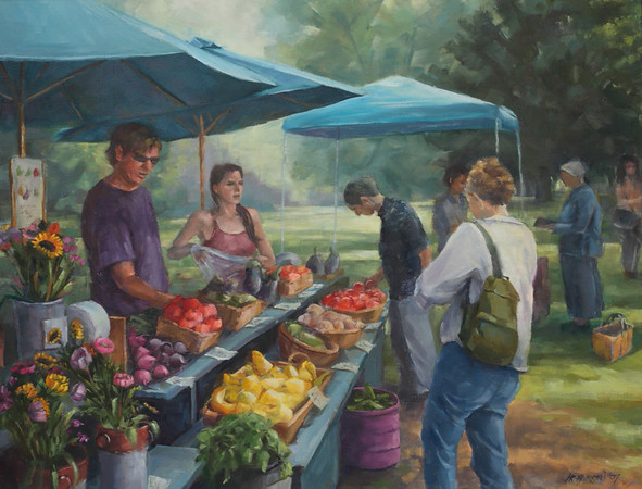 "Farmer's Market, Richmond, Vt<br /> 24""x28"""