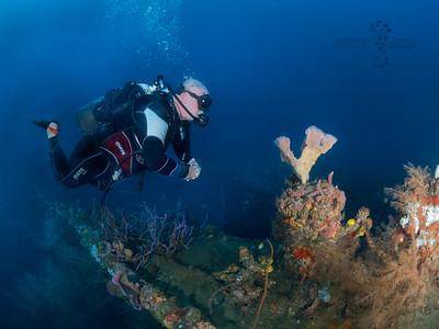 Serge sur l'épave du Roraima, à 45m