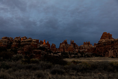 One tiny ray of sunrise light at Devil's Kitchen, Canyonlands National Park
