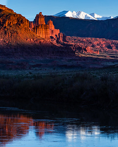 Fisher Towers, La Sal Mountains, Colorado River, sunset