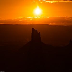 Sunset behind Candlestick Tower; Green River Overlook, Canyonlands National Park