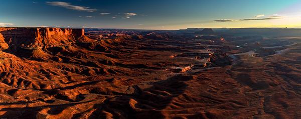 Sunset panorama; Green River Overlook, Canyonlands National Park