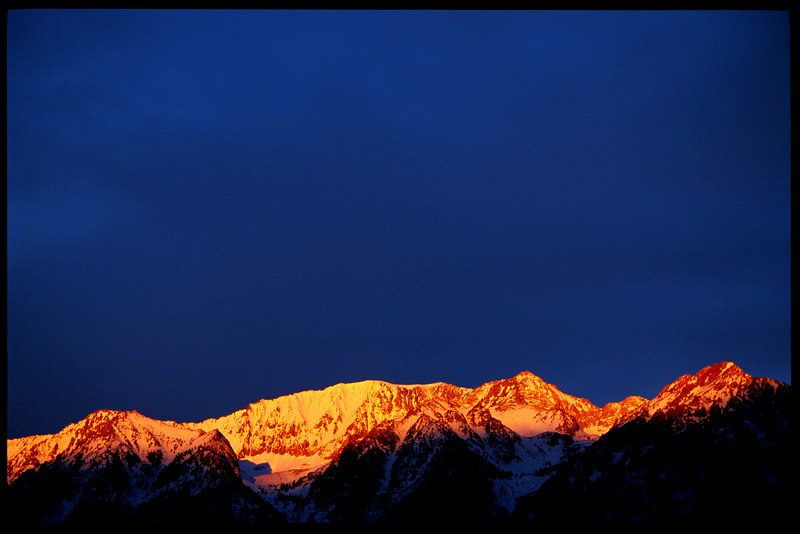 Morning's first rays illuminate the Sierra Crest near Independence, California.