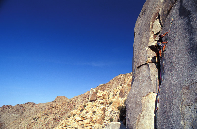 Brian Weiss thanks the Heavens that he braved the long hike up Rattlesnake Canyon, Joshua Tree National Park.