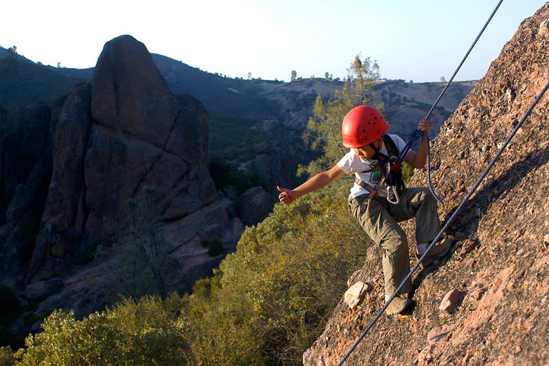 Billy, a fourth-grader from Ring Mountain Day School, gives a thumbs up after a successful climb in Pinnacles National Monument.
