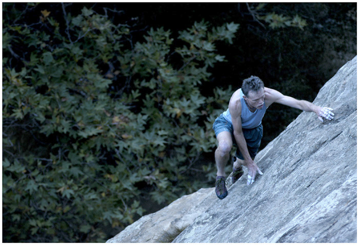"No Strings Attached: ""Although risks are ever-present, roped or not, free-soloing creates a focus resulting in rhythmic, free-flowing movements, unattainable when lashed to a rope.""        --Pat Shourds<br /> <br /> Devoted free-solo climber, Pat Shourds climbs a familiar line--the first route he ever soloed--in San Ysidro Canyon, near Montecito, Calif..  He has soloed the route, considered a comitting climb even with the protection of a rope, more than 500 times, by his own estimate."