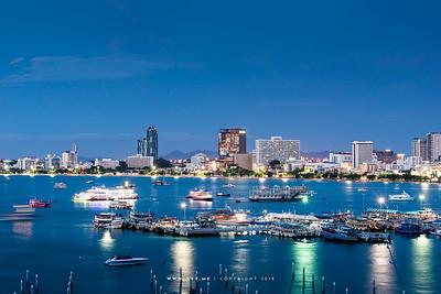Twilight at Pattaya Bay and Bali Hai Pier, Pattaya, Chonburi
