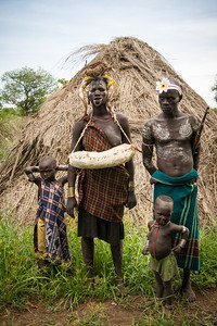 Chief of Mursi Tribe and family