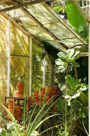 Old greenhouse and new pots at Nehrling Gardens in Gotha FL