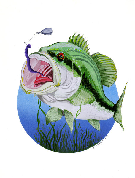 Bass Action!<br /> Watercolors - Illustration Board