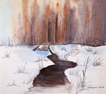 Woods at Uncle Jack's Watercolor - Pen & Ink - Watercolor Paper