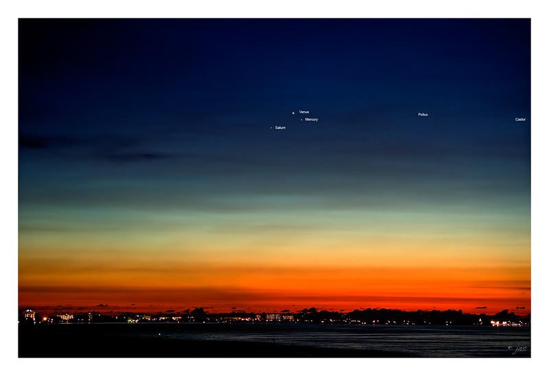 Planetary Conjunction - Saturn, Venus, Mercury - Labeled