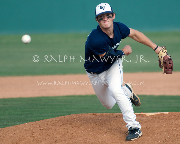 Ben Woodchick, pitching for the Smithson Valley High School Rangers. The Rangers defeated the Churchill Chargers in District 27-5A varsity play at Blossom Athletic Stadium, San Antonio, Texas, March 25, 2008.