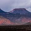 Fog reaching Bears Ears formation, Bears Ears National Monument, San Juan County, Utah