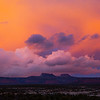 Bears Ears formation and dramatic clouds during sunset, Bears Ears National Monument, San Juan County, Utah