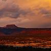 Sunset light on Bears Ears formation panorama, Bears Ears National Monument, San Juan County, Utah