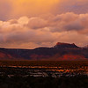 Bears Ears and Elk Ridge with sunset light and clouds, Bears Ears formation, Bears Ears, San Juan County, Utah