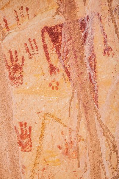 Basketmmaker pictographs (hands, anthropomorph, animal track), Bears Ears National Monument and environs, San Juan County, Utah