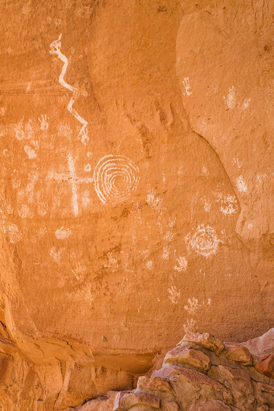 Horned serpent, handprints, and spirals, Ancestral Pueblo pictographs, Bears Ears National Monument and environs, San Juan County, Utah