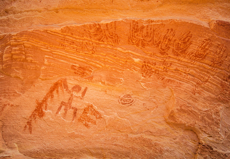 Ancestral Puebloan pictographs (stylized handprints, anthropomorph), Bears Ears National Monument and environs, San Juan County, Utah