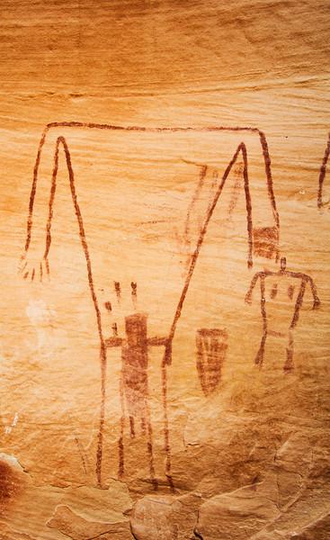Possible breech birth, Basketmaker pictographs , Bears Ears National Monument and environs, San Juan County, Utah