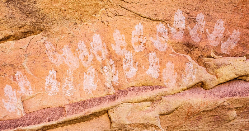 Hands in white pigment, Ancestral Pueblo pictographs , Bears Ears National Monument and environs, San Juan County, Utah