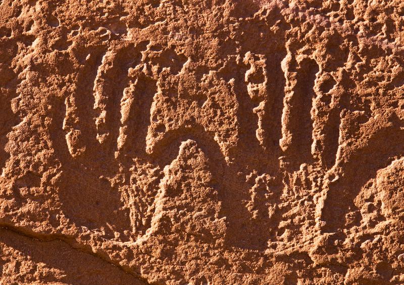 Ancestral Puebloan hand petroglyphs, Bears Ears National Monument and environs, San Juan County, Utah
