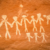 Hand-in-hand anthropomorphs, Basketmaker pictographs, Chinle Representational Style, Bears Ears National Monument and environs, San Juan County, Utah
