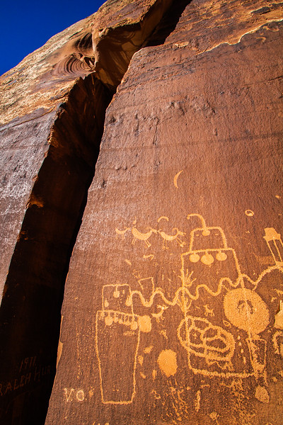 Fremont petroglyph panel with sheep and decorated anthropomorphs , Bears Ears National Monument and environs, San Juan County, Utah