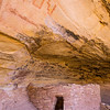 Ancestral Puebloan pictographs with stepped elements above architecture, Bears Ears National Monument and environs, San Juan County, Utah