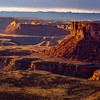 Canyon landscape looking toward Bears Ears at sunset, San Juan County, Utah