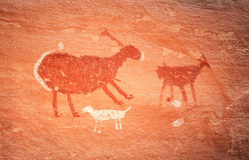 Pronghorn and canine, Basketmaker pictographs, Chinle Representational Style, Bears Ears National Monument and environs, San Juan County, Utah