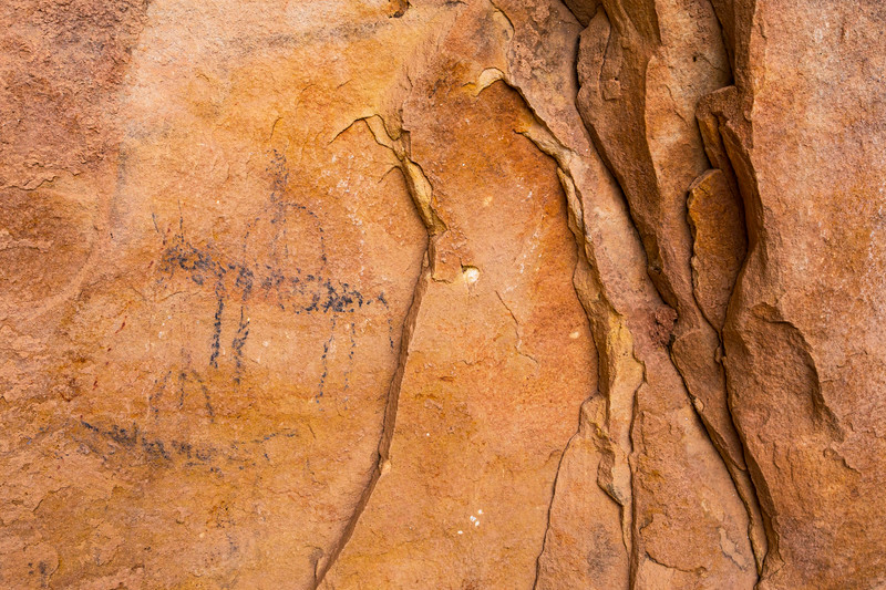 Horses and riders, Ute charcoal pictographs, Bears Ears National Monument and environs, San Juan County, Utah