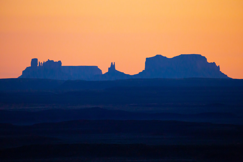 View toward Monument Valley from Valley of the Gods, San Juan County, Utah
