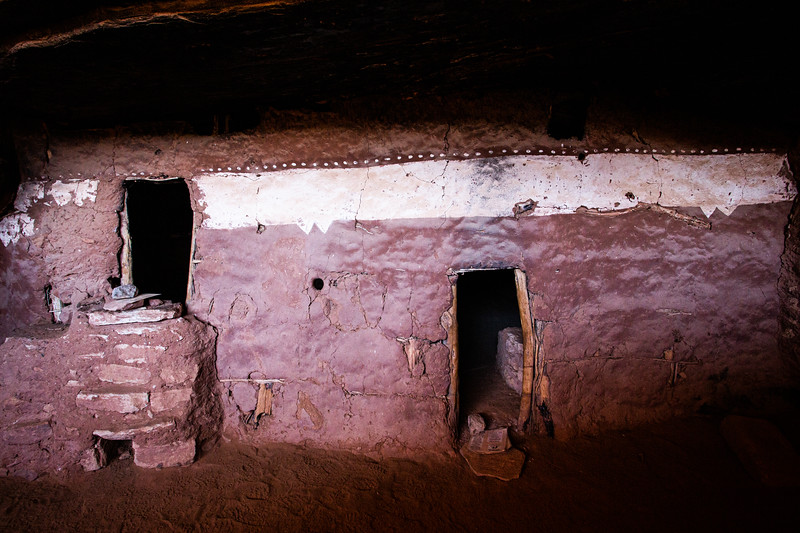 Painted composition on Moonhouse, Ancestral Pueblo structures, Bears Ears National Monument, San Juan County, Utah
