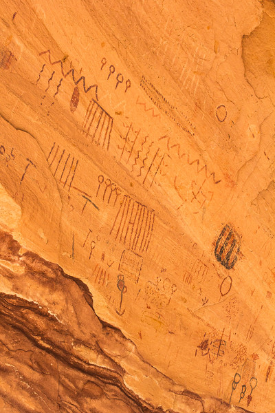 Archaic Polychrome Abstract Style pictographs , Bears Ears National Monument and environs, San Juan County, Utah