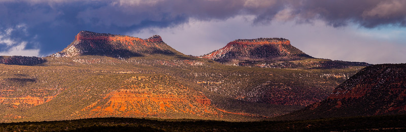 Sunset and snow on the Bears Ears formation, Bears Ears National Monument, San Juan County, Utah