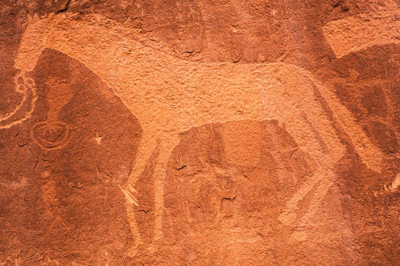 Ute Representational Style petroglyphs above Basketmaker petroglyphs , Bears Ears National Monument and environs, San Juan County, Utah