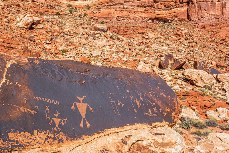 Prominent 'duck-headed' figure in Basketmaker petroglyph panel, Bears Ears National Monument and environs, San Juan County,  Utah