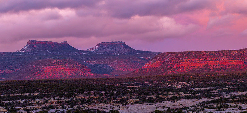Purple sunset light on a snowy Bears Ears formation, Bears Ears National Monument, San Juan County, Utah